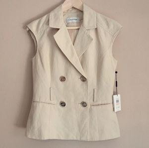 Calvin Klein Double Breasted Linen Blend Vest
